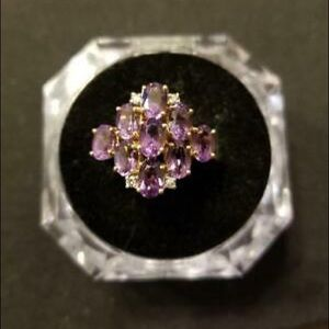 Lady's Amethyst & Diamond Ring in 10k Yellow Gold